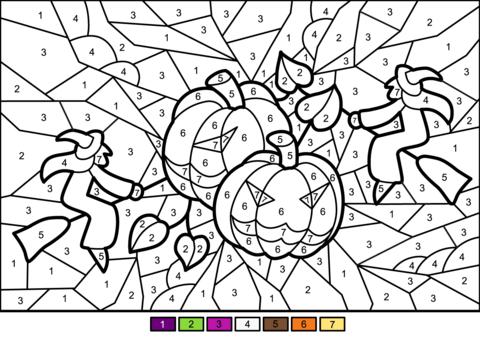 раскраски по номерам хэллоуин