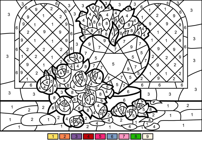 раскраски по номерам розы