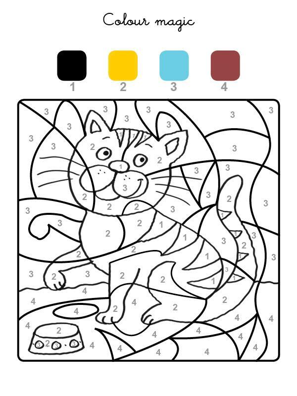 раскраски по номерам рыжий кот