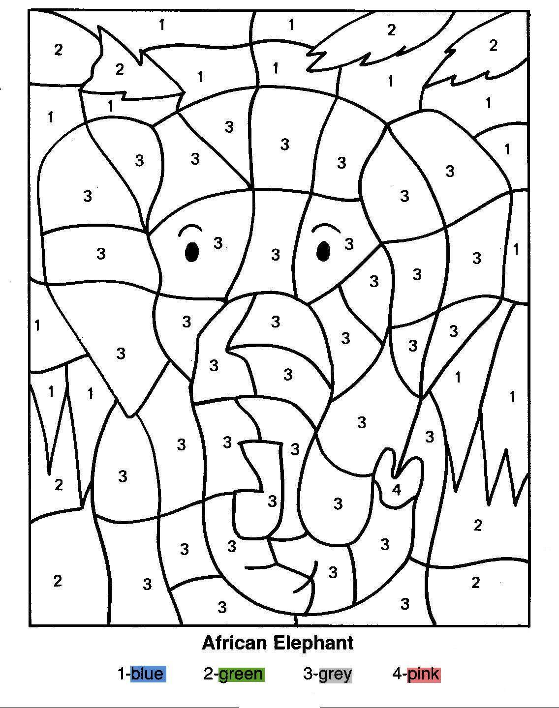 раскраски по номерам слоны