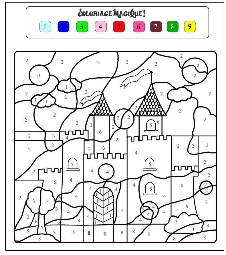 раскраски по номерам замок