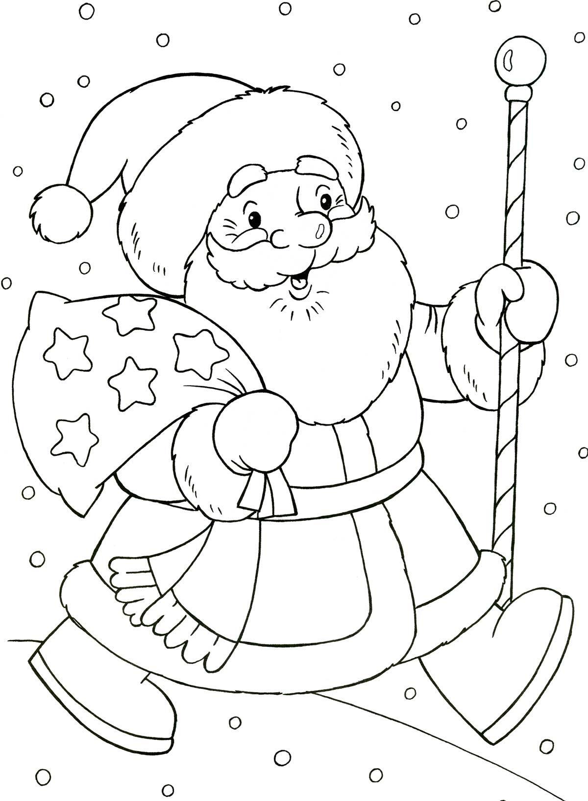 Дед Мороз раскраска для детей 5 лет