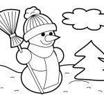 детская раскраска снеговик