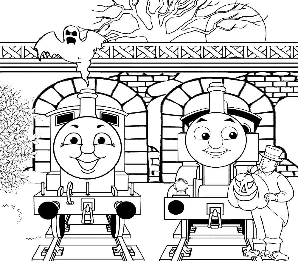 Детские раскраски паровозик Томас