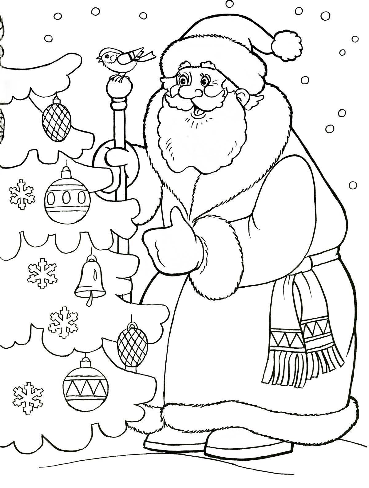 Картинка Деда Мороза для детей раскраска