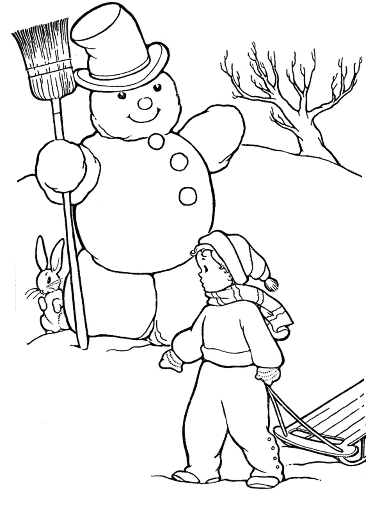 картинка снеговика для детей раскраска