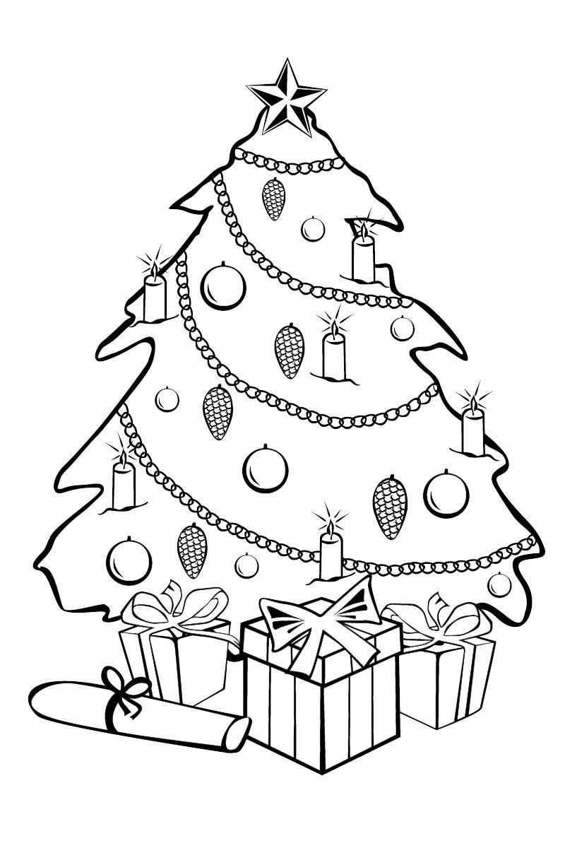 Картинки раскраски новогодние елки