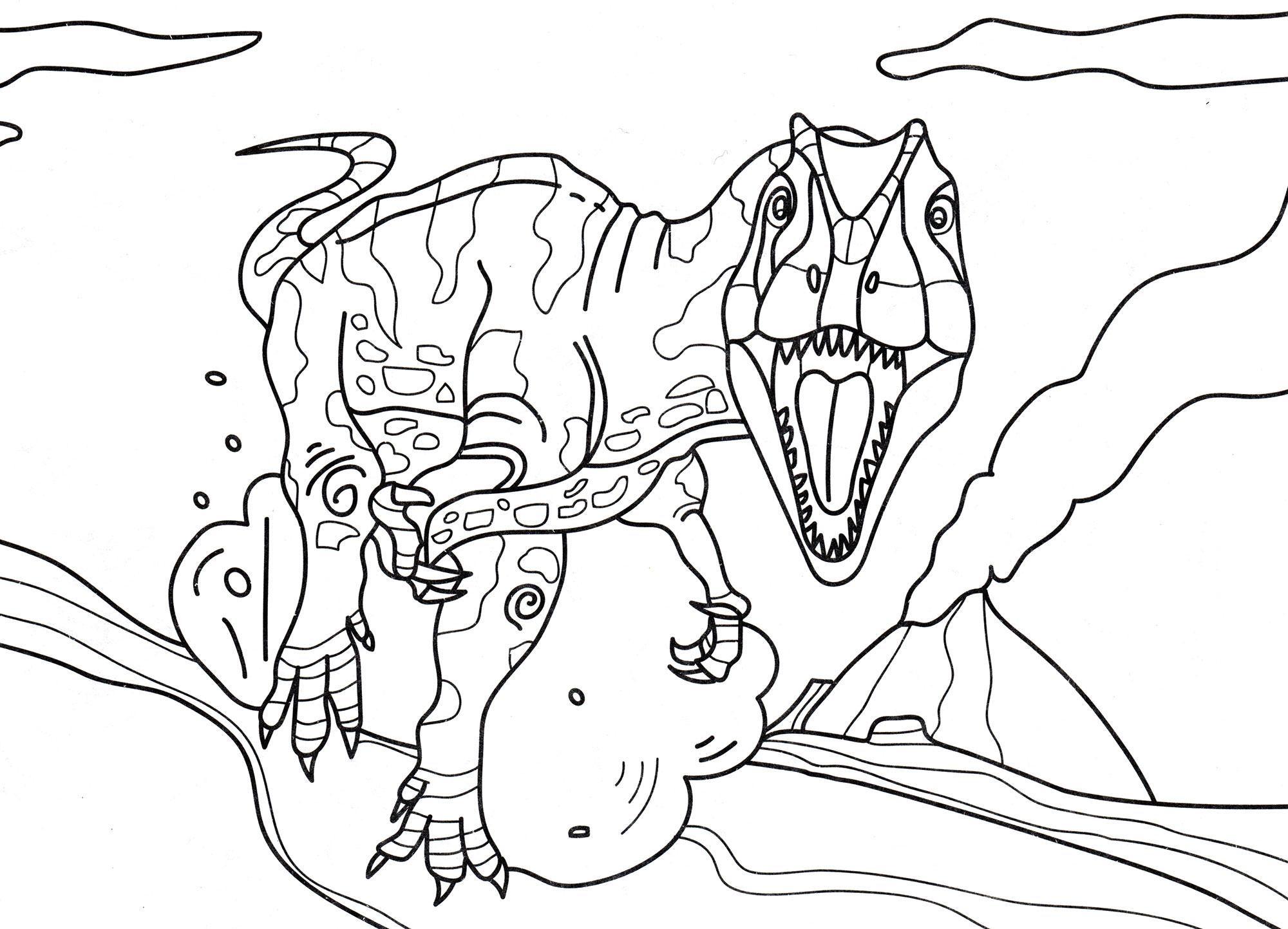 раскраска динозавр аллозавр на охоте