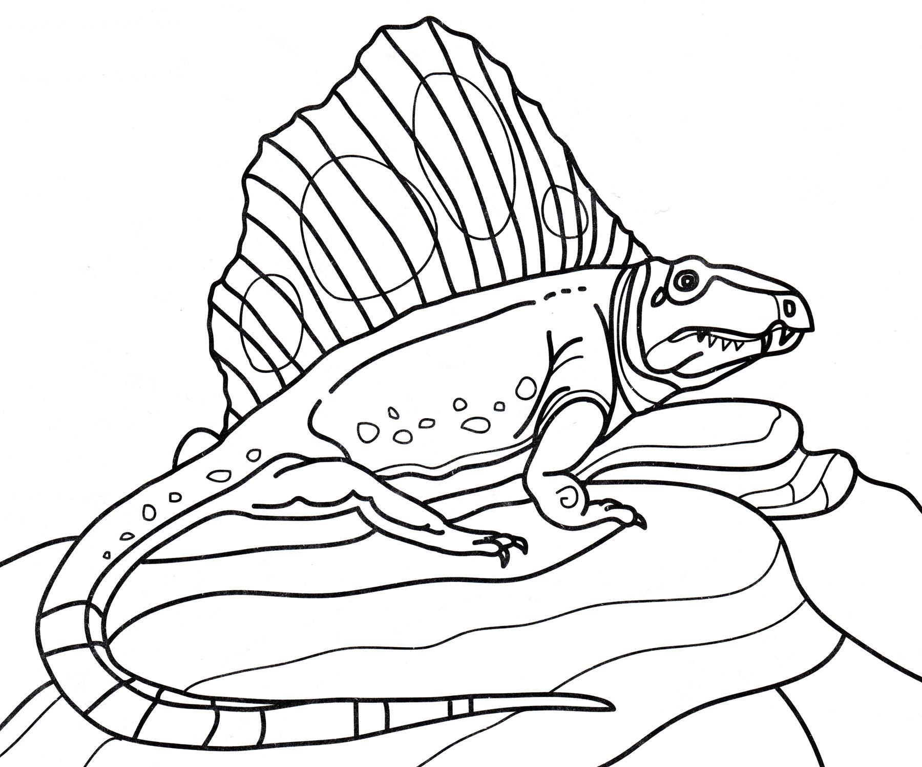 раскраска динозавр диметродон на камнях