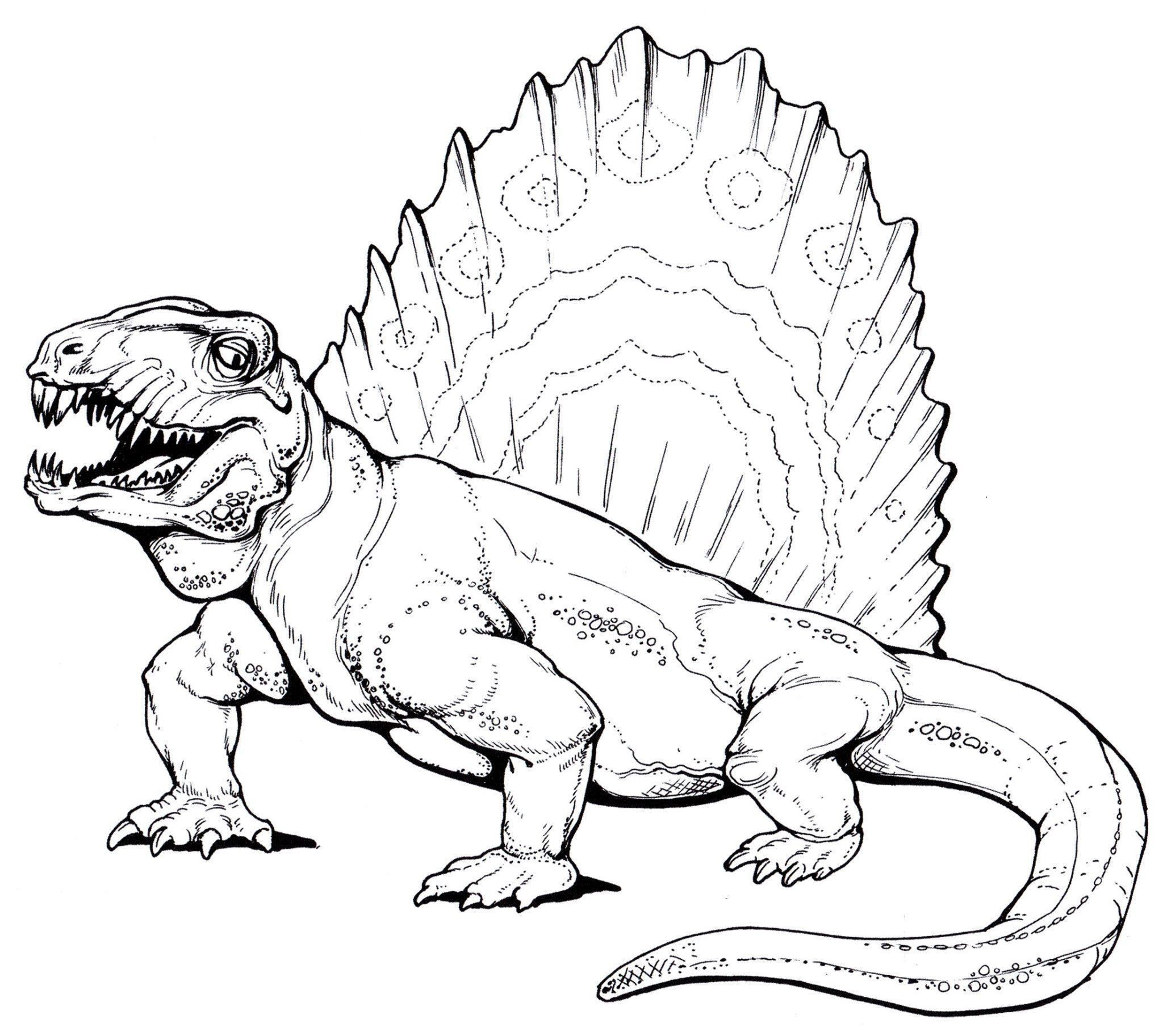 раскраска динозавр диметродон