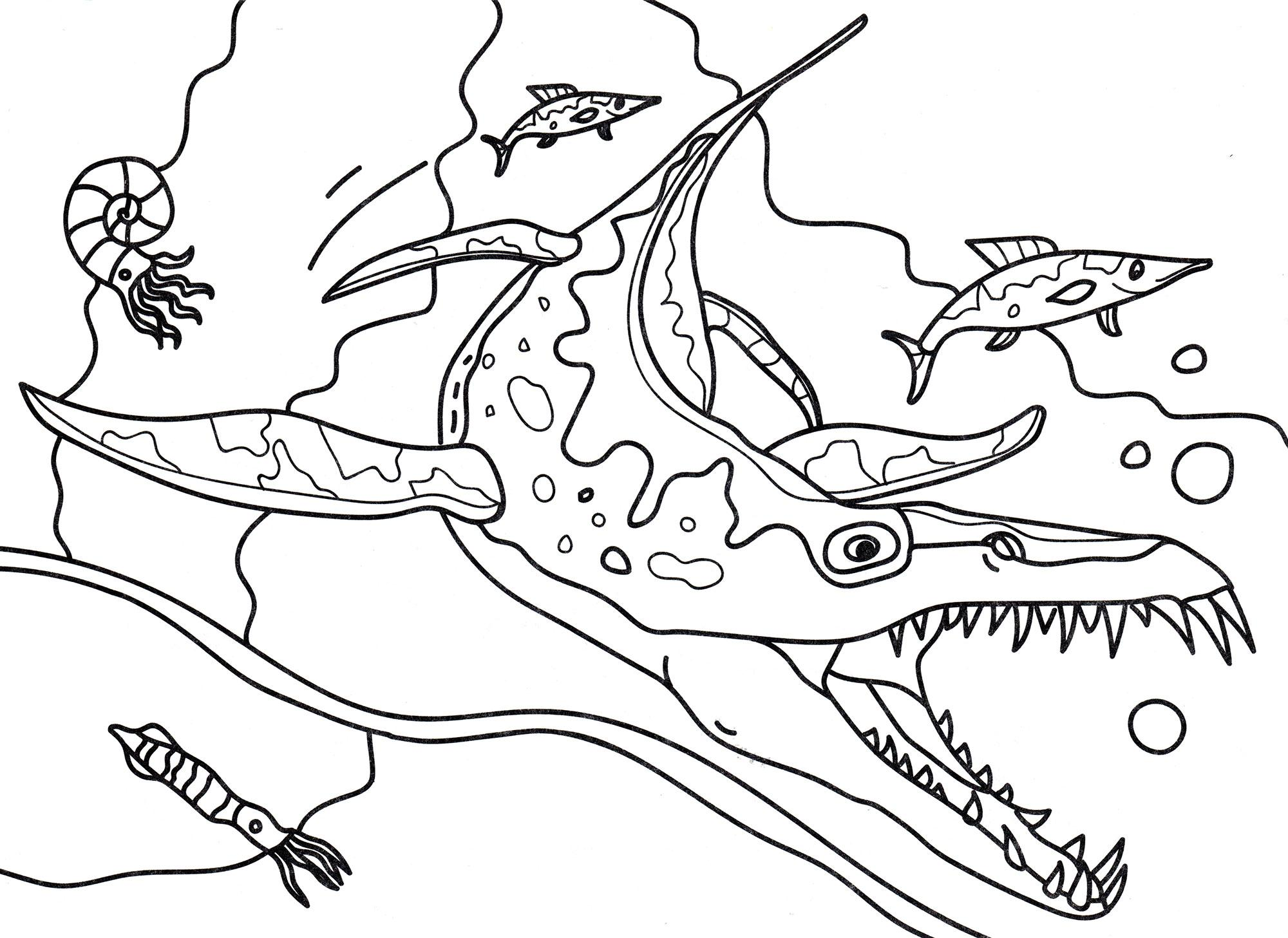 раскраска динозавр лиоплевродон в воде