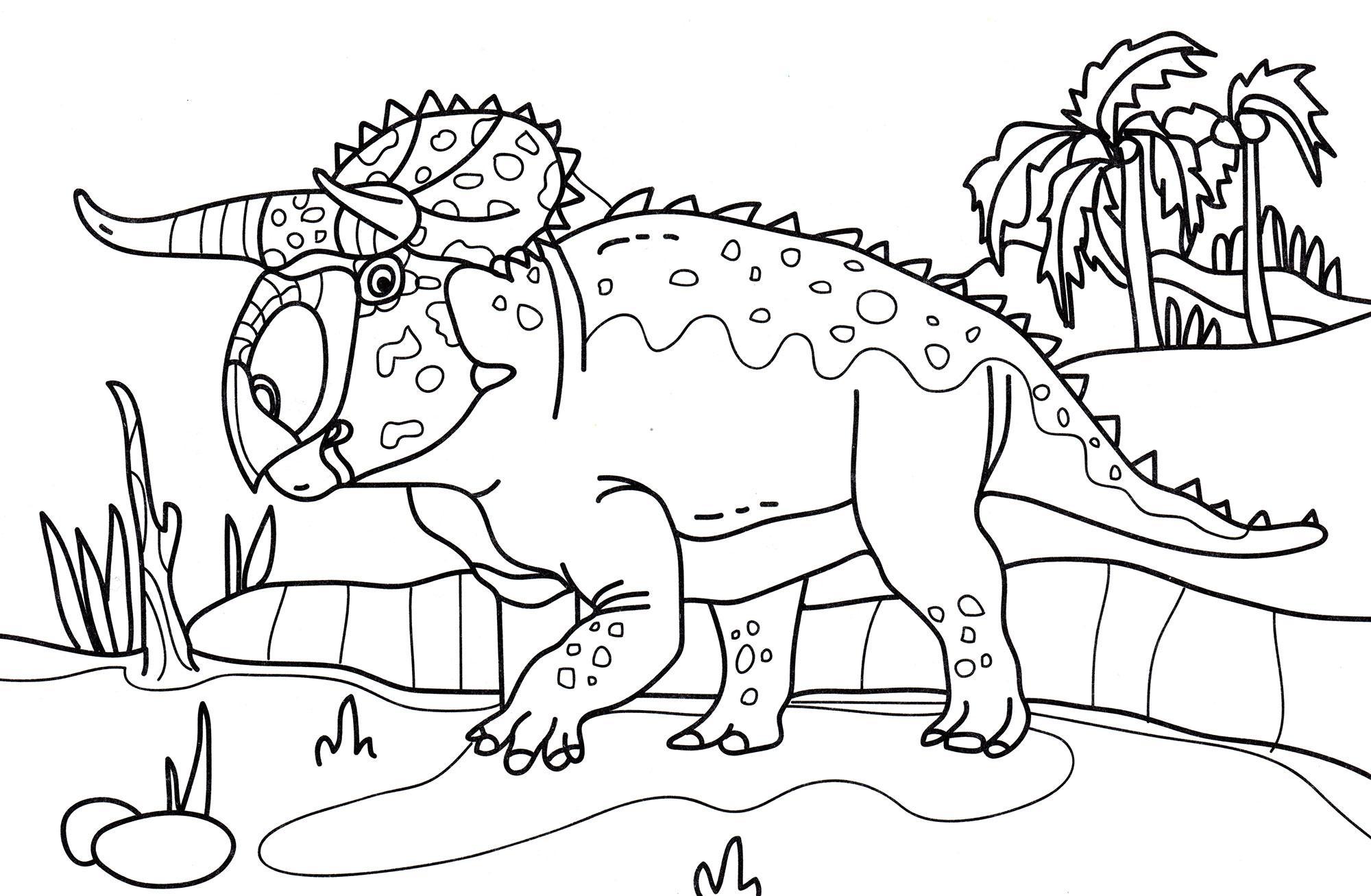 раскраска динозавр насутоцератопс