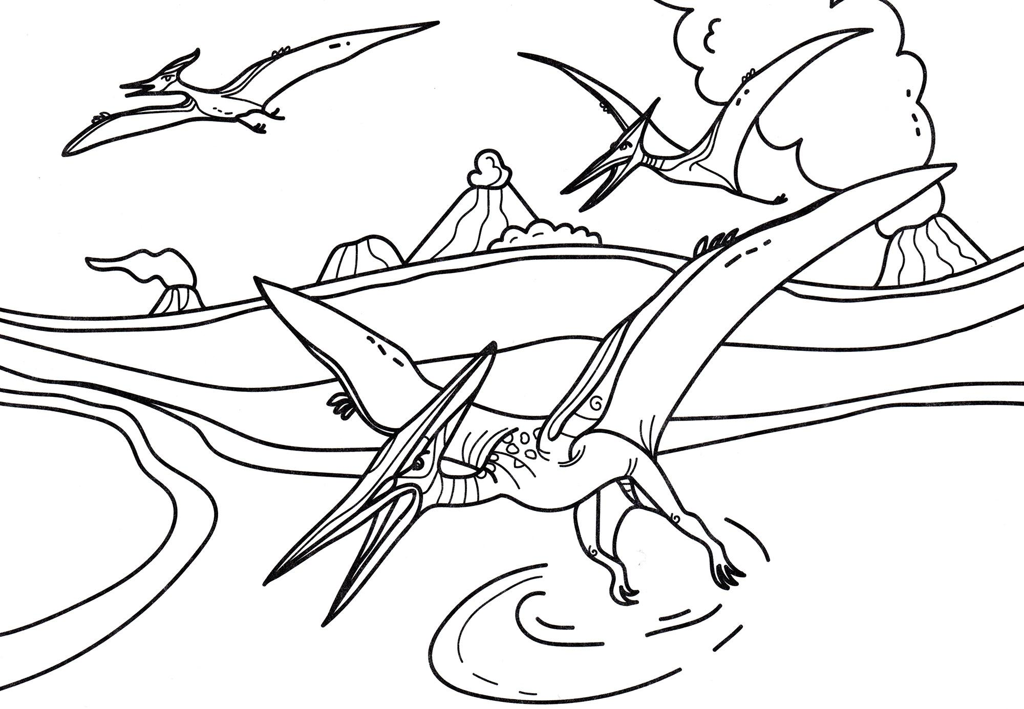 раскраска динозавр птеродактиль