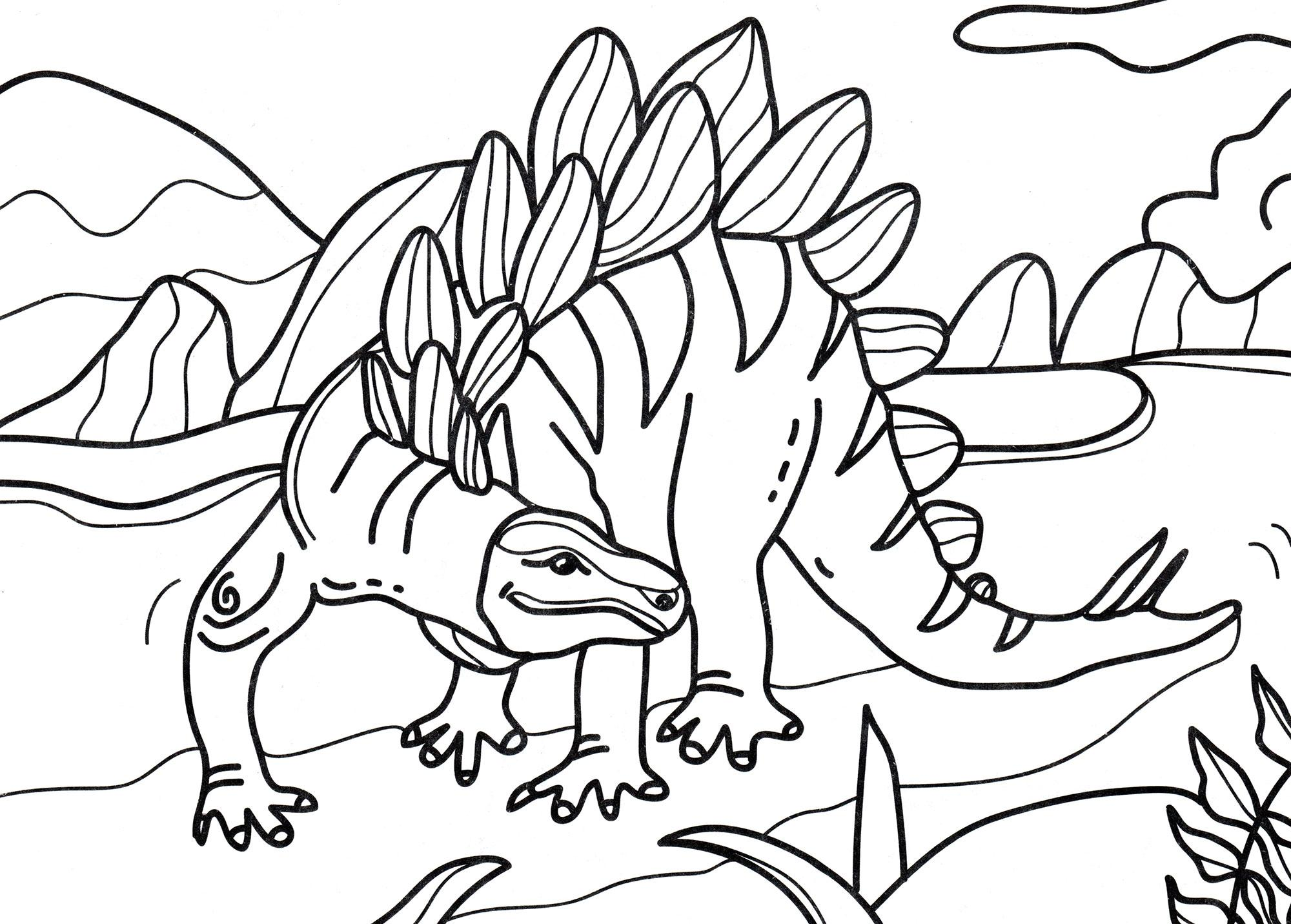 раскраска динозавр стегозавр ищет еду
