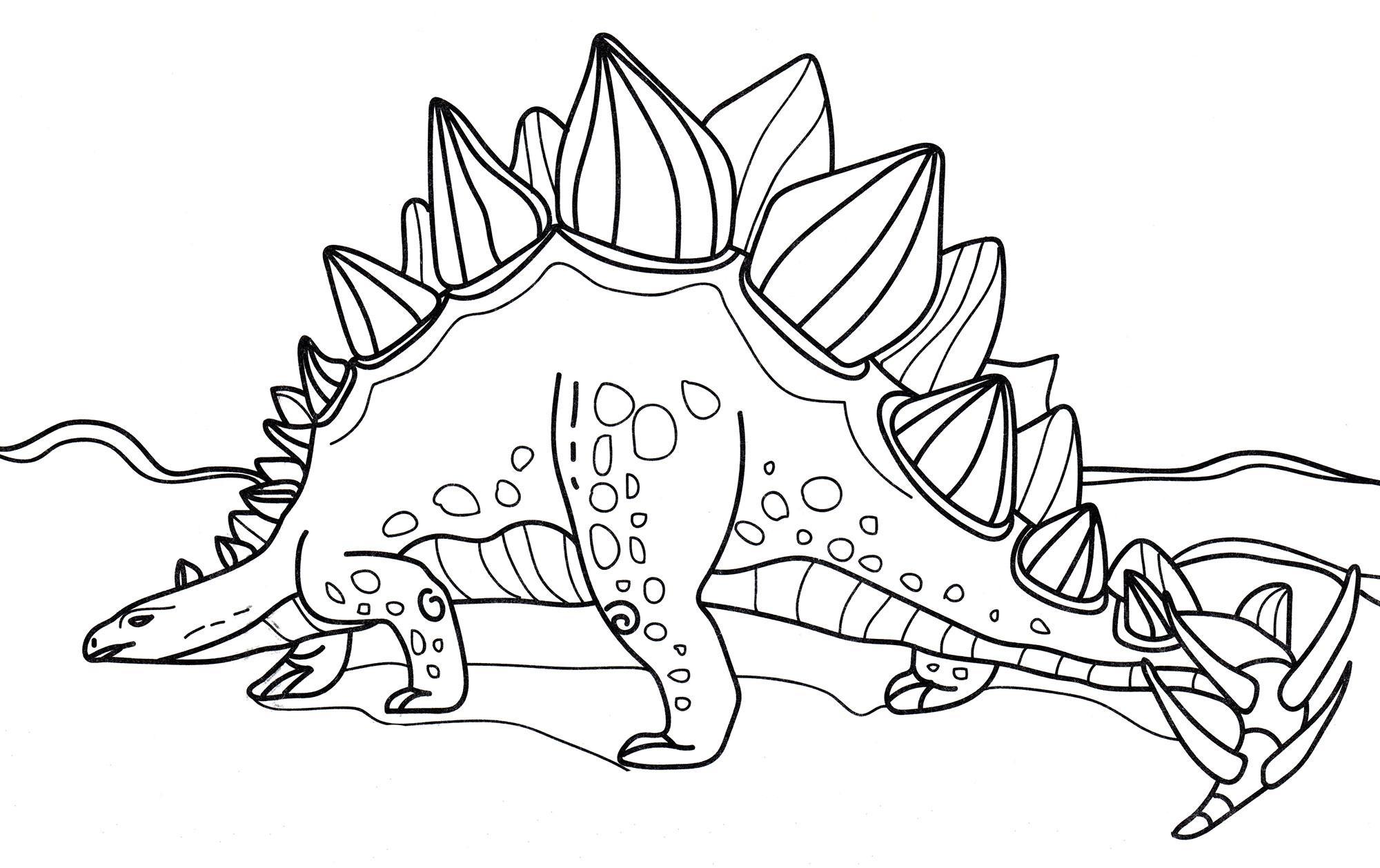 раскраска динозавр стегозавр на прогулке