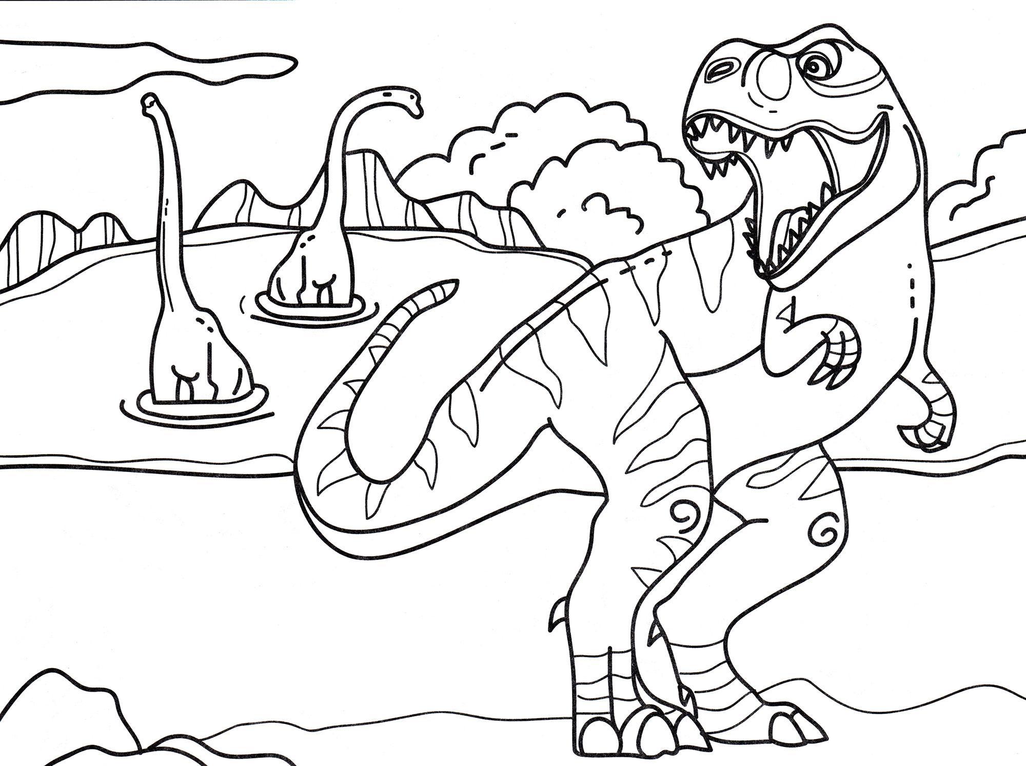 раскраска динозавр тиранозавр охотится