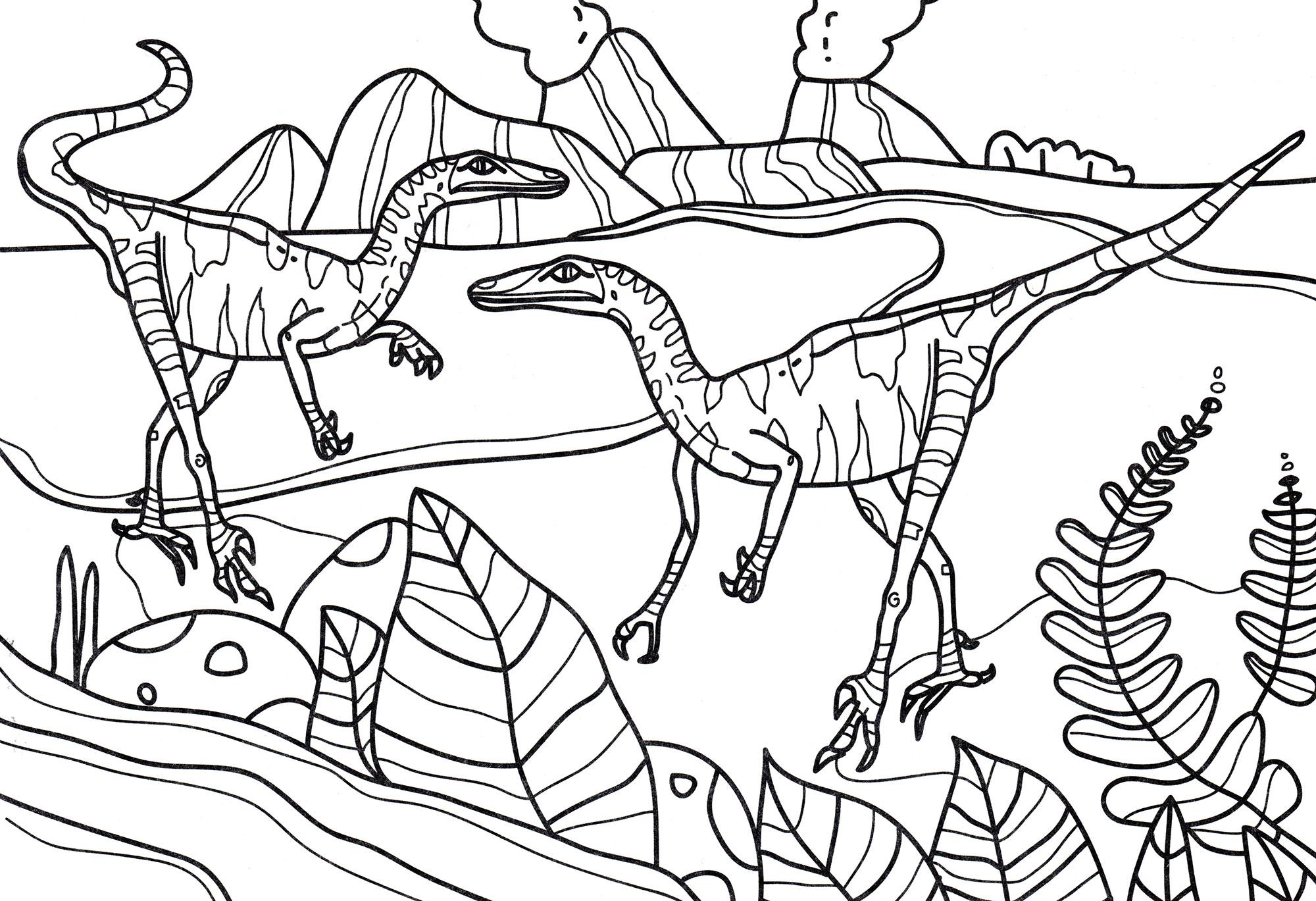 раскраска динозавр троодон