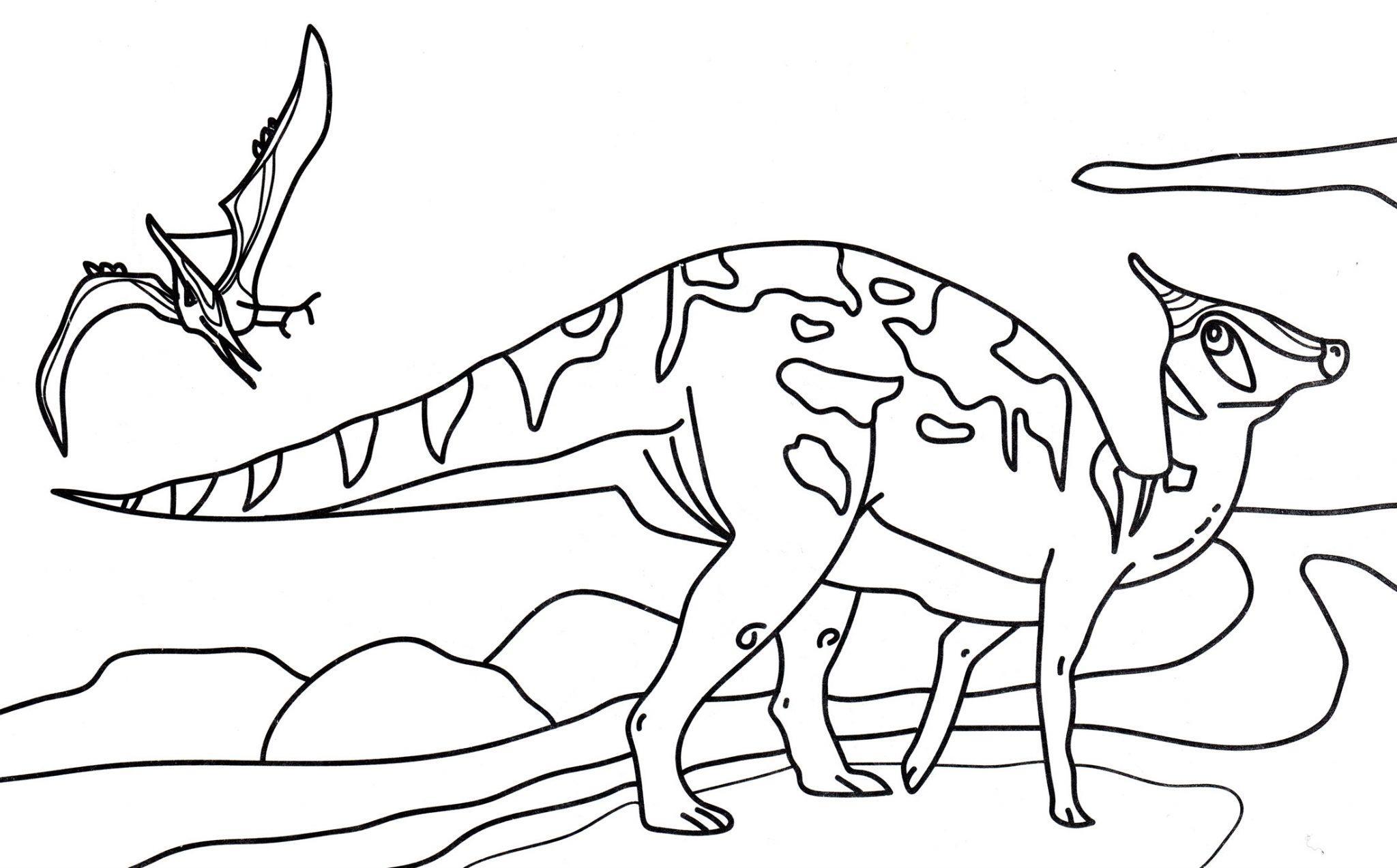 раскраска динозавр зауролоф