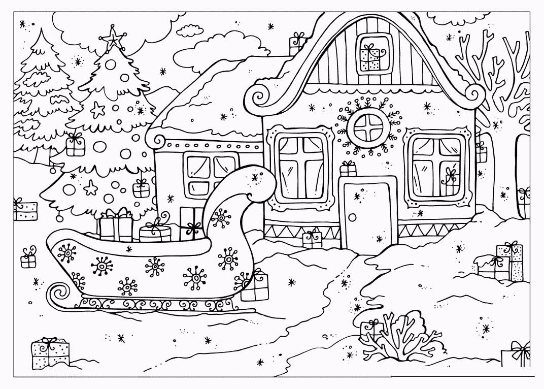 раскраска дом деда мороза