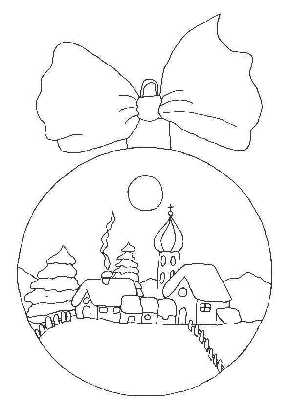 раскраска новогодний шар с бантом