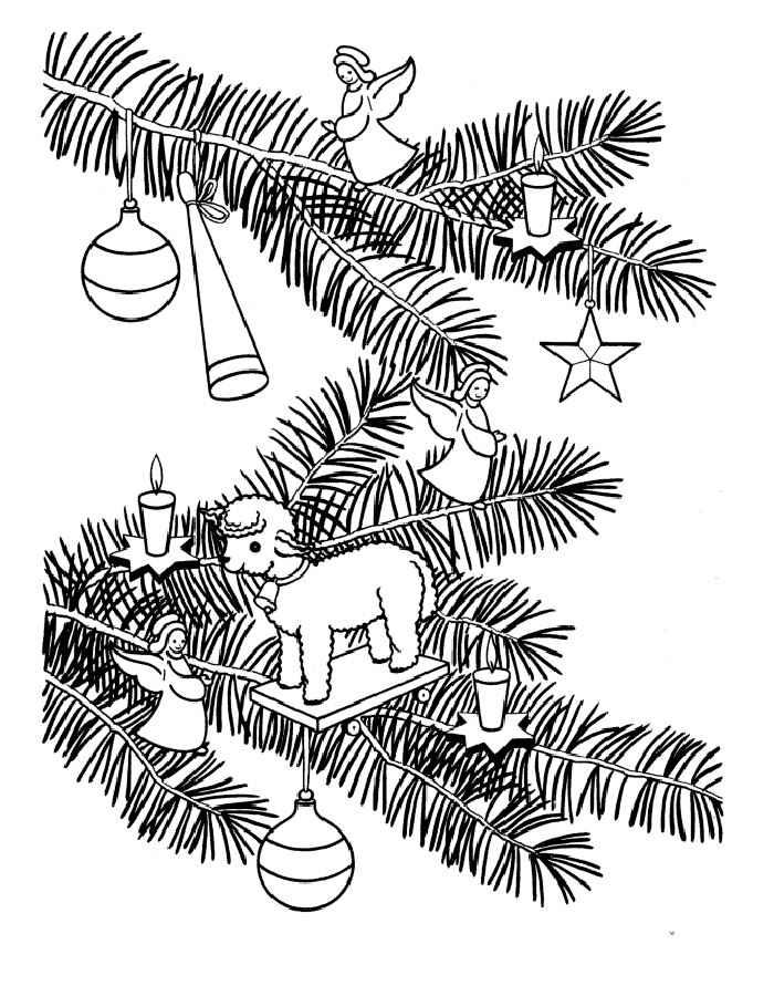 раскраска новогодние игрушки на ветке