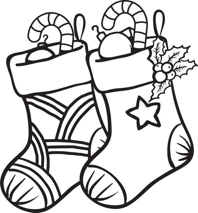 раскраска новогодние игрушки носок