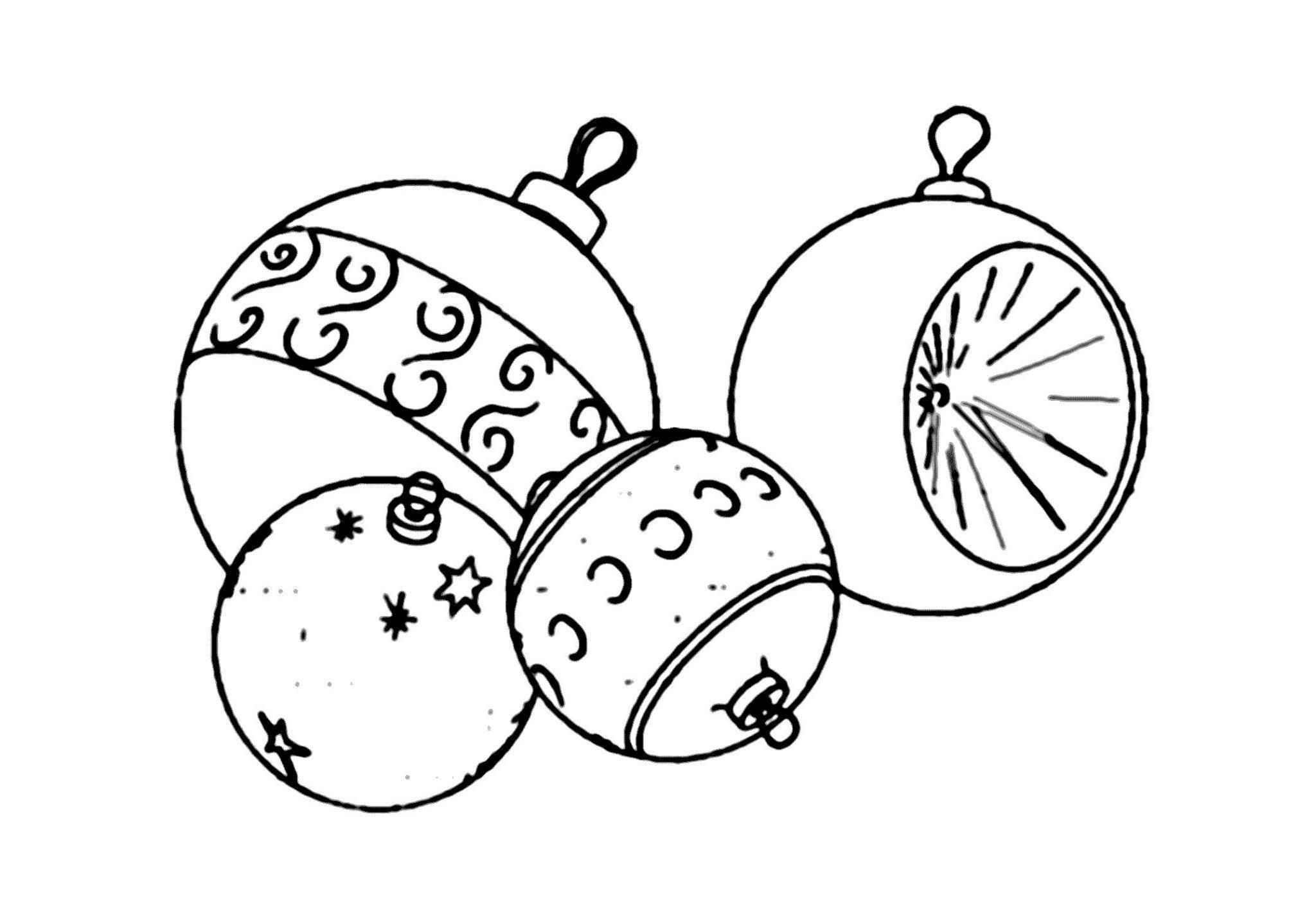 раскраска новогодние игрушки распечатать