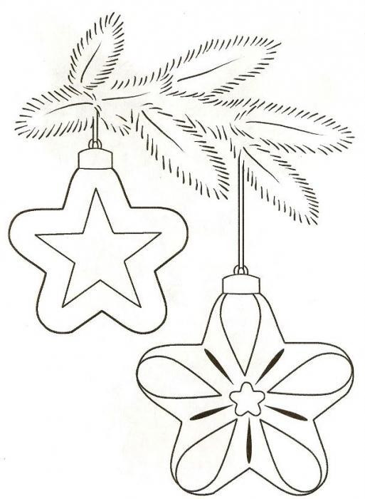раскраска новогодние игрушки со звездочкой