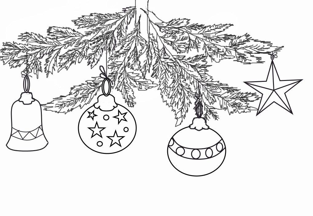 раскраска новогодние шары на елке