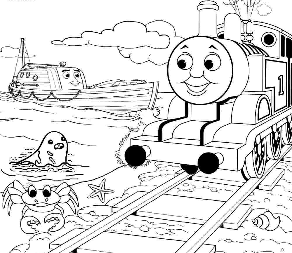 Раскраска паровозик Томас