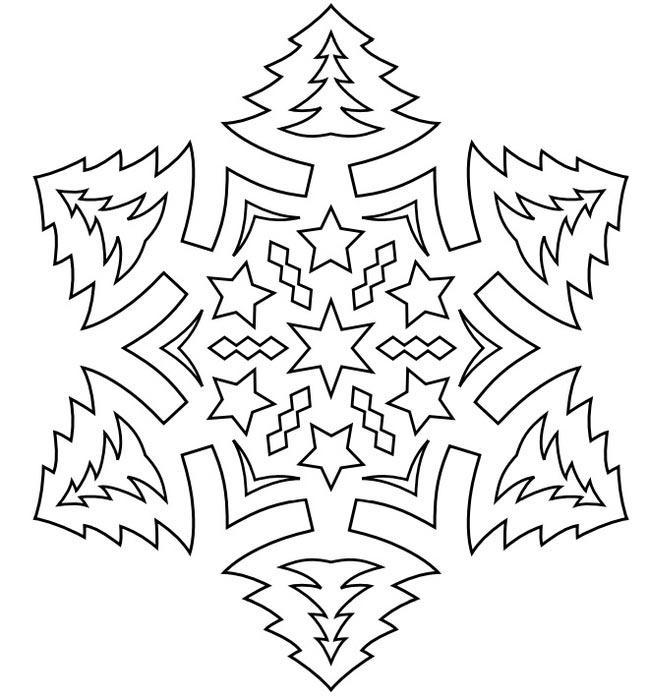 раскраска рисунок снежинки
