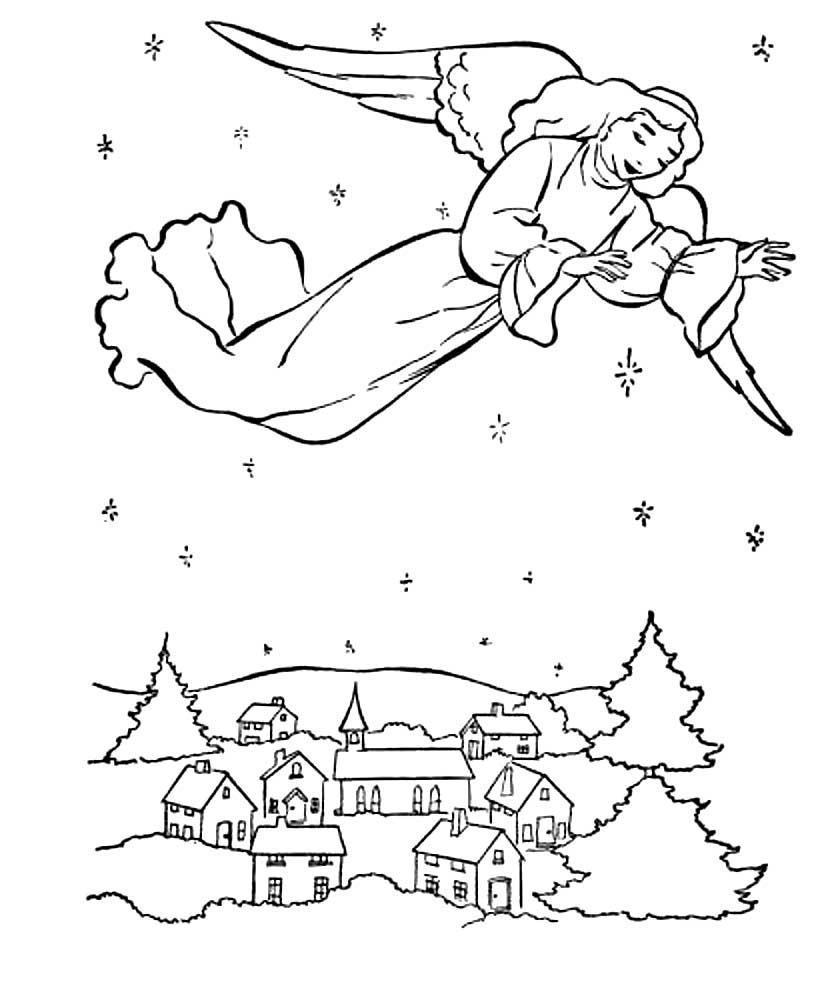 Рождество картинка для детей раскраска