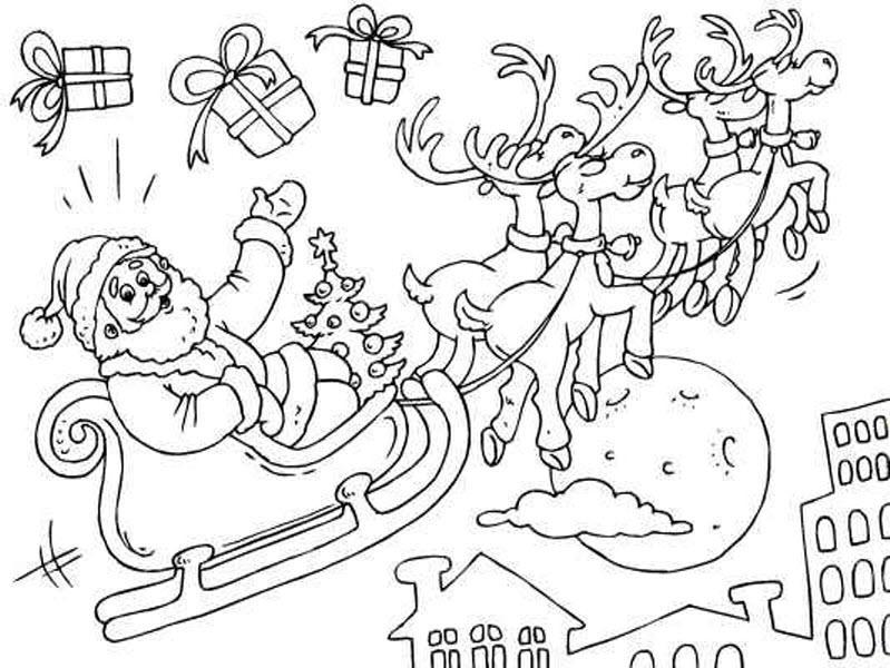 раскраска санта клаус на оленях летит над городом