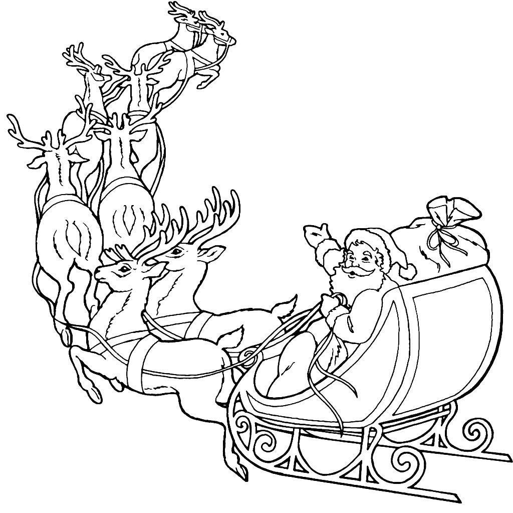 раскраска санта клаус на оленях