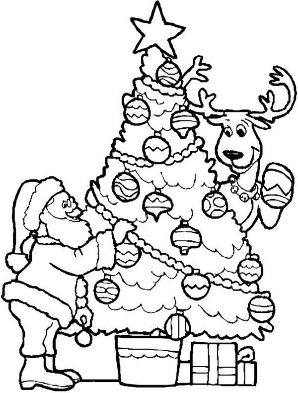 раскраска санта клаус наряжает елку