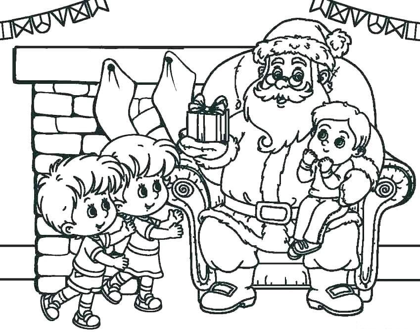 раскраска санта клаус поздравляет детей