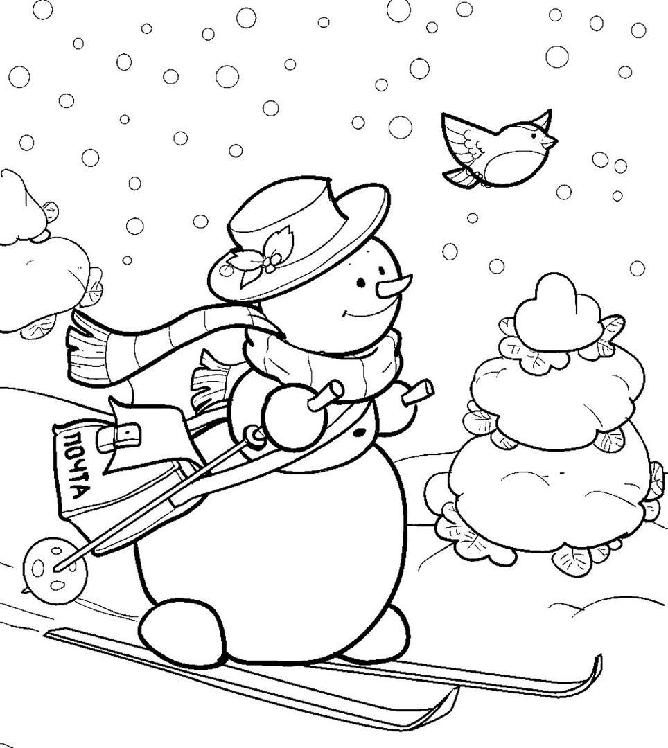Снеговик на лыжах картинки раскраски для детей