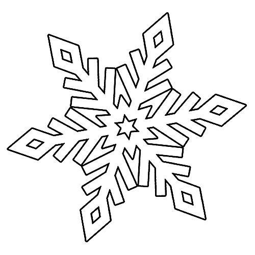 раскраска снежинка трафарет