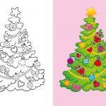 раскраска елка новогодняя