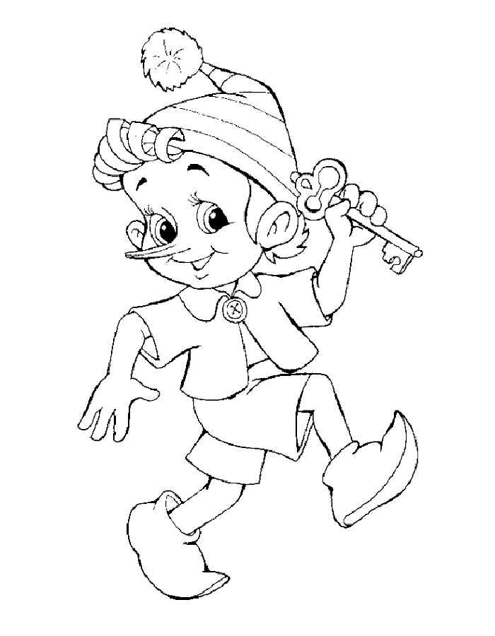 раскраска Буратино для детей