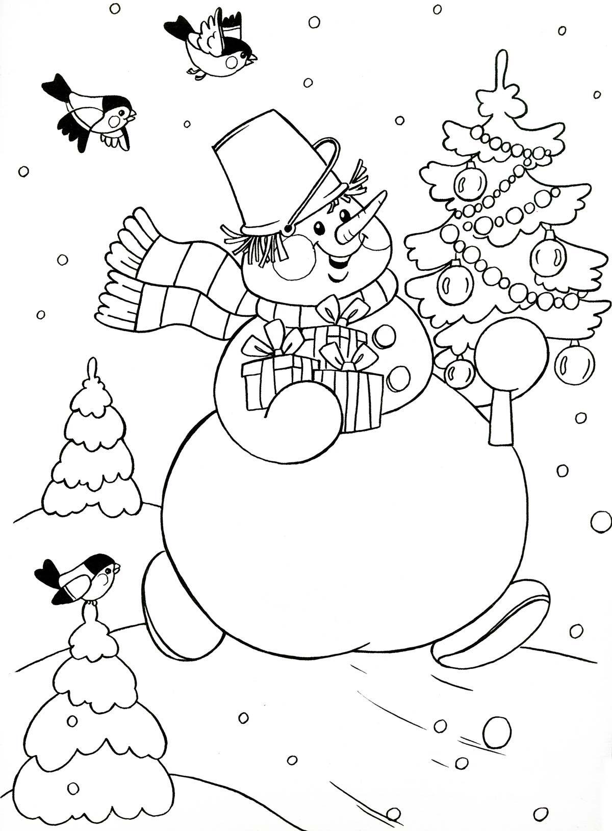 раскраски для девочек снеговик