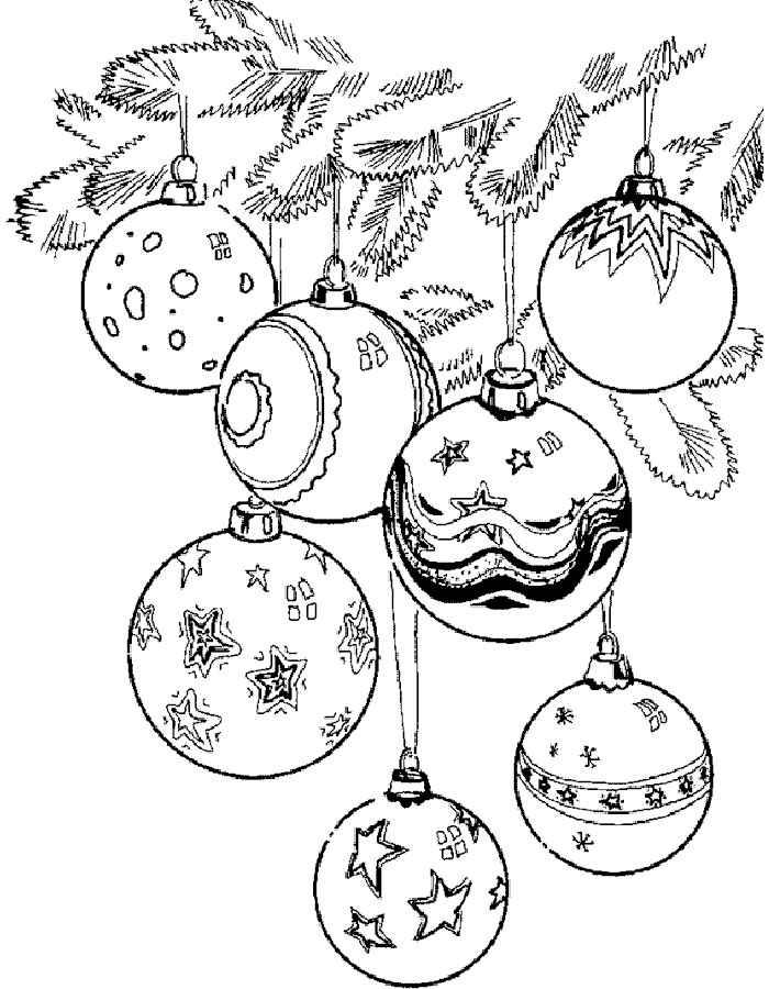 раскраска новогодние шары распечатать