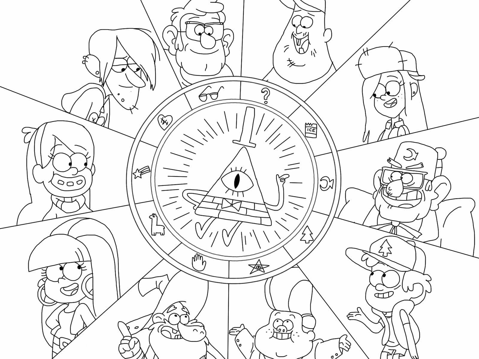 Картинки для срисовки гравити фолз все герои разукрашенные