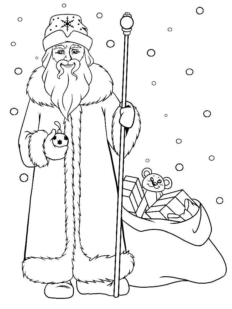 раскраски красивого деда мороза