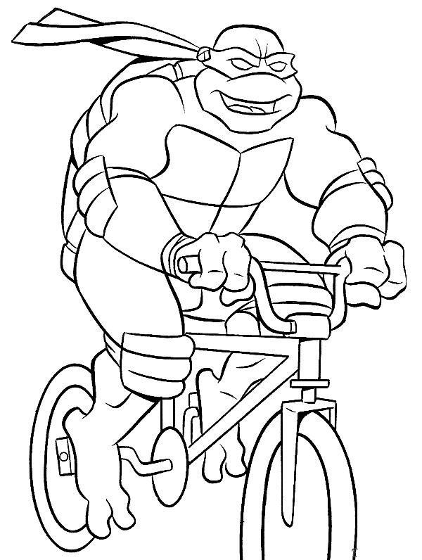 Черепашка едет на велосипеде