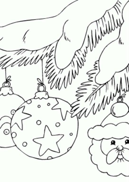 раскраски новогодние игрушки шары распечатать бесплатно
