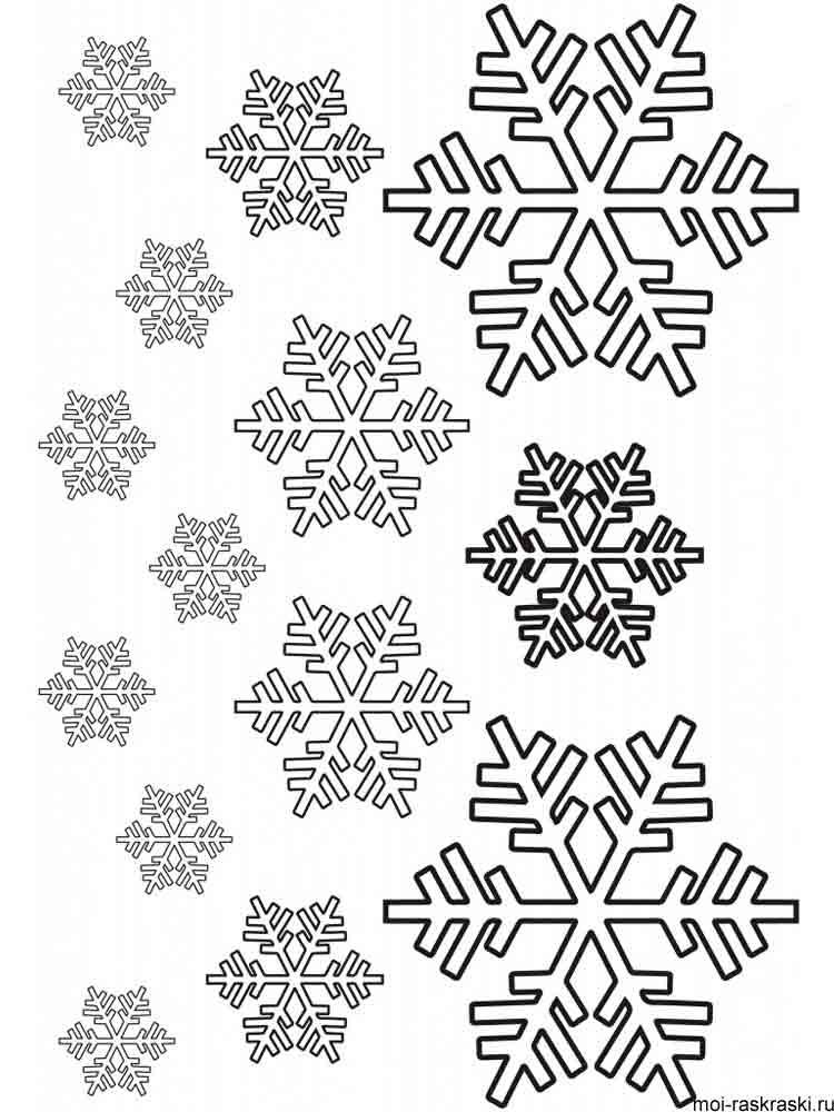 раскраски распечатать снежинки маленькие