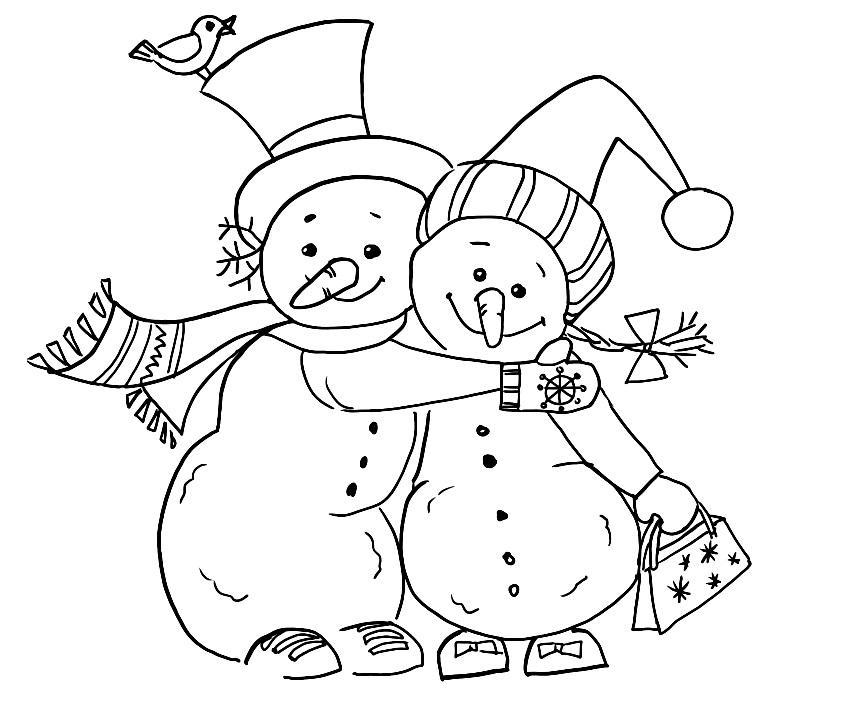 раскраски снеговики в шапочках и шарфиках