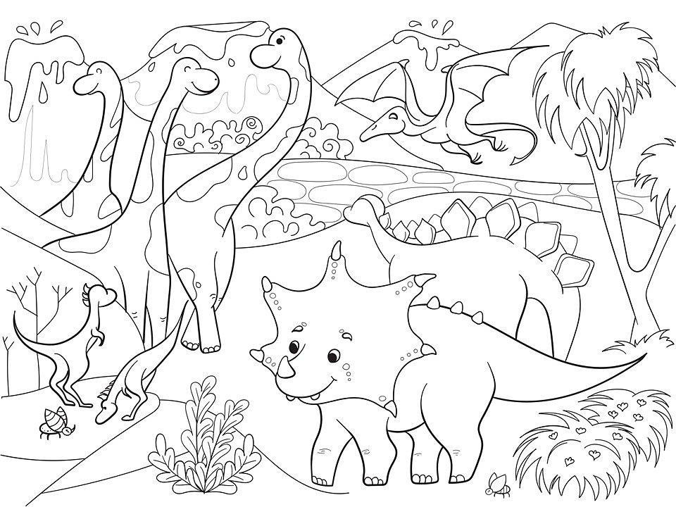 Раскраски динозавры для детей 5 лет