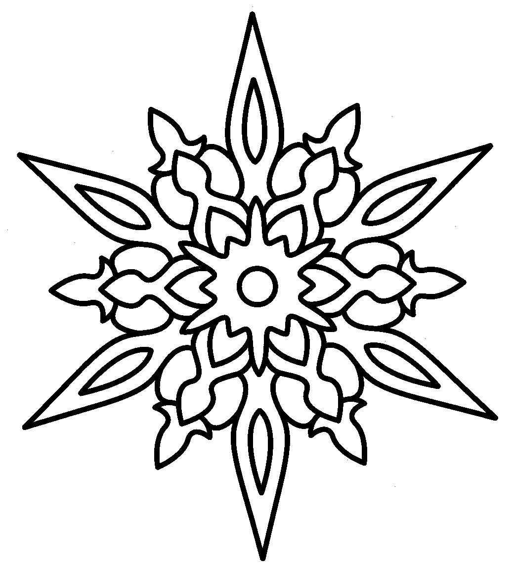 шаблон снежинки раскраска